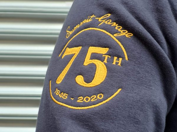 Logo close-up of the Limited Edition '75th Anniversary' Hooded Sweatshirt
