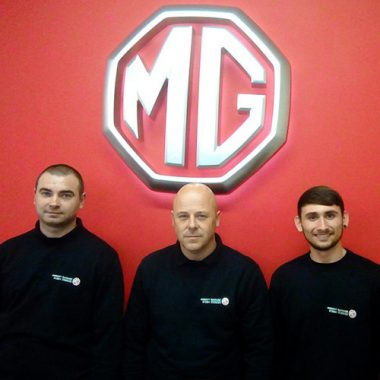Matt Davenport (MG Technician), Lee Stott (MG Technician) & Dylan White (MG Apprentice)