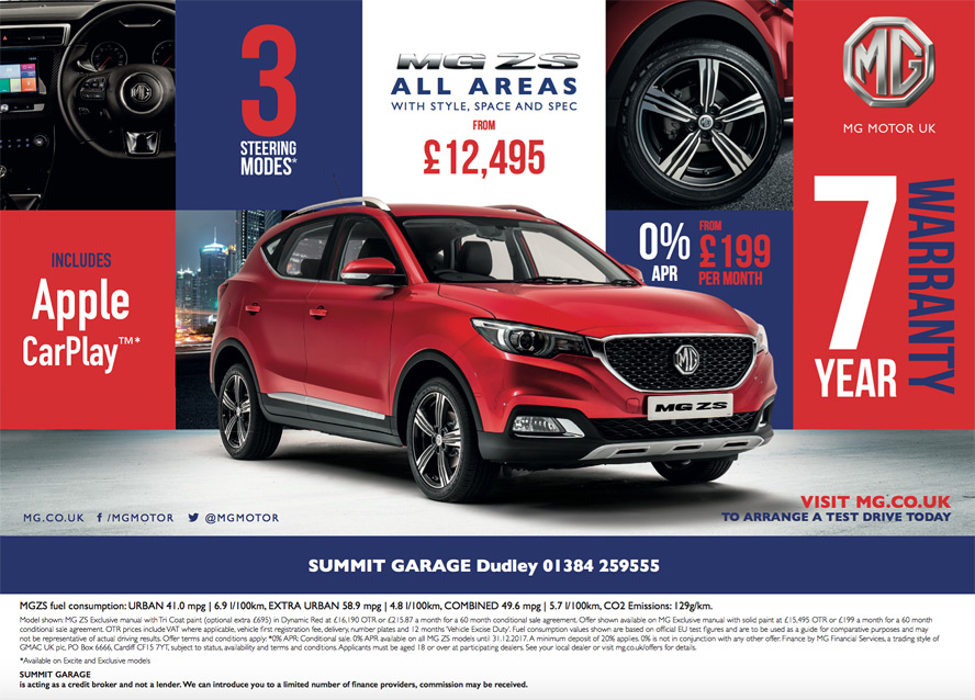 MG ZS Summit Garage Dudley 7 Year/ 80,000 miles Warranty 5 years 0% APR